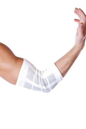 Elastic elbow support to protect from injury photo