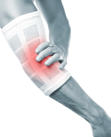 Protecting a painful elbow Stock Photo
