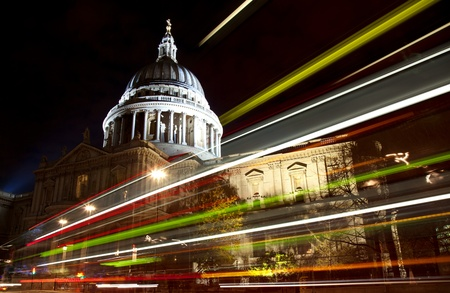 cathedrals: St Pauls cathedral with blurred bus trail at night