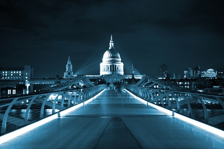 saint paul: St Pauls cathedral and Milennium bridge London at night Stock Photo
