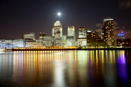 districts: Full moon over London skyscrapers