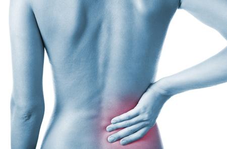 personnes de dos: Femme tenant son dos douloureux