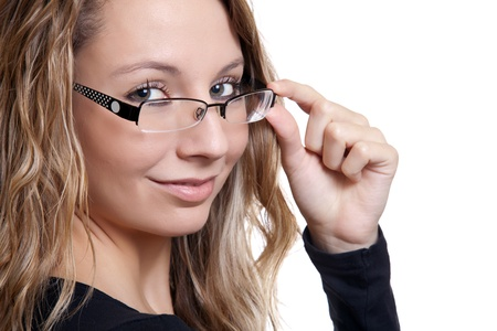 woman wearing glasses: Young beautiful woman holding glasses, on white Stock Photo