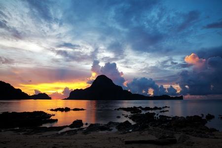 Beautiful sunset in El Nido, Palawan, Philippines photo