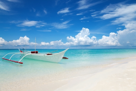 White boat on tropical Bantayan island in Philippines photo
