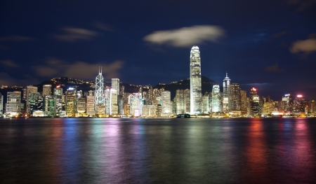 Skyscrapers in Victoria harbor Hong Kong photo