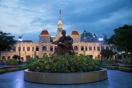 vietnam flag: City Hall at night in Ho Chi Minh city, Vietnam