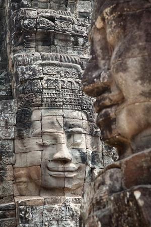 bayon: Faces of ancient Bayon temple Cambodia Stock Photo