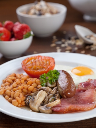 bacon baked beans: Tasty looking full English breakfast