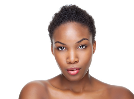 beauty skin: Black beauty with perfect skin and short hair