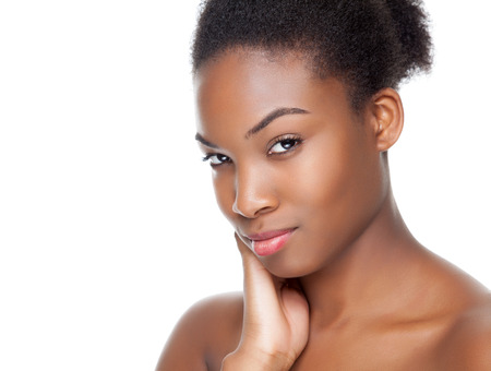 black woman face: Black beauty with perfect skin on white background Stock Photo