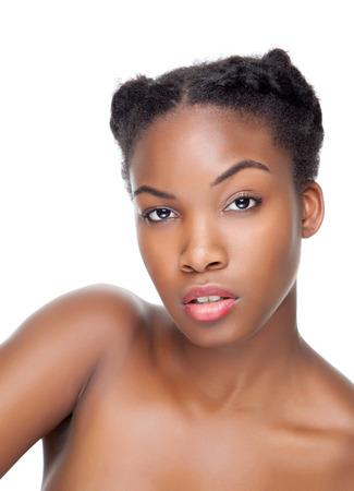 Black beauty with perfect skin and short hair photo