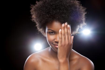Beautiful black woman enjoying a party lifestyle photo