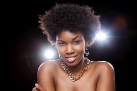 black women hair: Beautiful black woman enjoying a party lifestyle