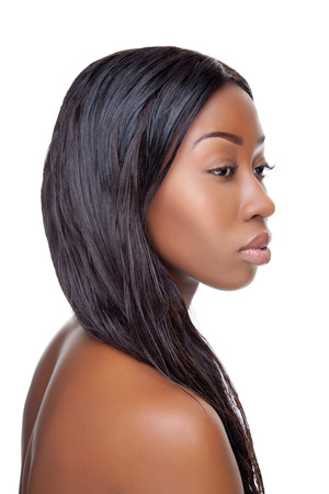 Black beauty with perfect skin and long hair Stock Photo