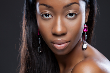 Close-up portrait of an young black beauty
