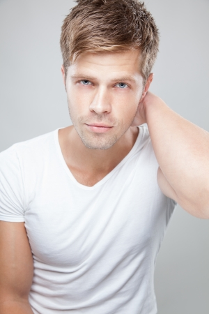 muscular male: Portrait of a handsome young man Stock Photo