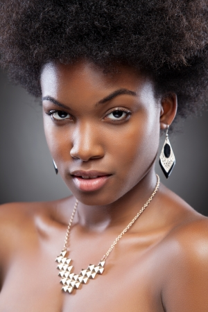 Young black beauty with afro hairstyle photo