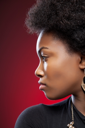 Profile view of a black beauty with afro hairstyle photo