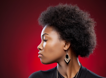 females: Profile view of a black beauty with afro hairstyle