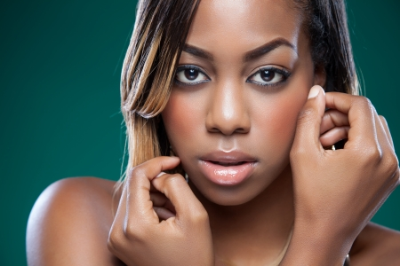 Attractive black woman with perfect skin photo