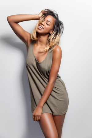 tanktop: Attractive young black woman in a tanktop Stock Photo