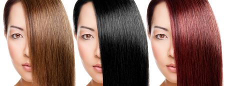 versions: Beautiful young Thai woman with 3 versions of hair colour