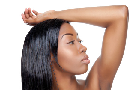 Black beauty with straight hair on white photo