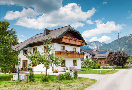 austrian village: Beautiful traditional Alpine house in the mountains