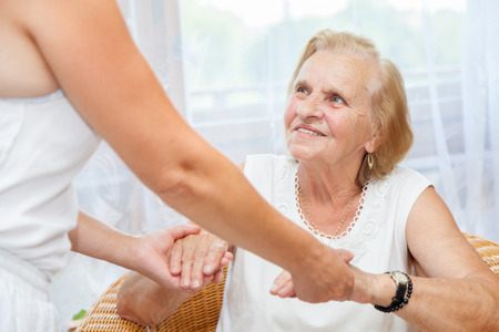 Providing care and support for elderly  Stock Photo