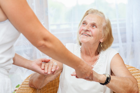 family support: Providing care and support for elderly  Stock Photo