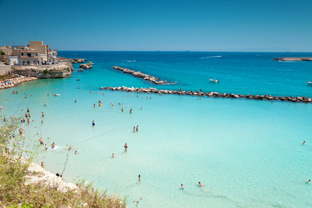 Otranto town with a beautiful beach in Puglia Italy