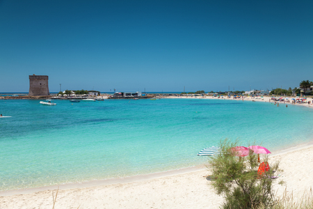 Beautiful beach and white sand on the southern coast of Italy Standard-Bild