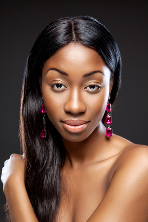long silky hair: Black beautiful woman with long dark hair Stock Photo