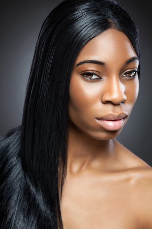 Black beautiful woman with long straight hair
