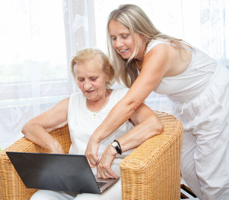 providing: Providing help and care for elderly people Stock Photo