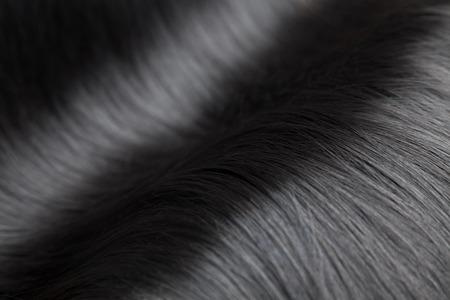 textura pelo: Primer en lujoso pelo negro y liso y brillante Foto de archivo