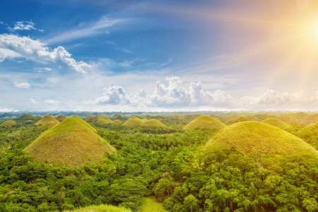 Beautiful scenery of Chocolate Hills in Bohol, Philippines