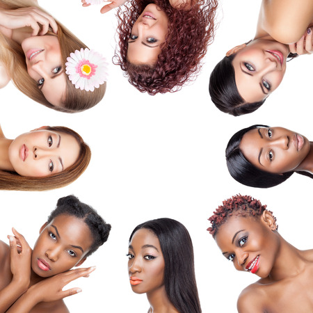 Collage of multiple beauty portaits of women with various skin tones and hair