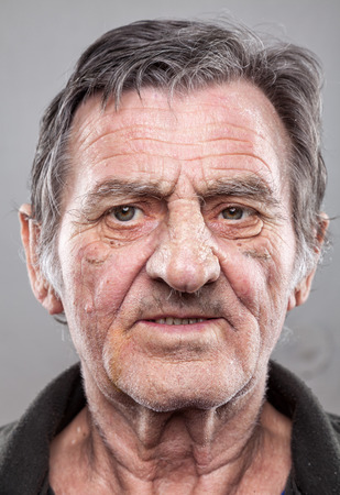 1 mature man: Closeup portriat of an elderly man Stock Photo
