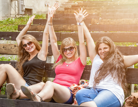 oudoors: Group of best friends having a good time oudoors Stock Photo