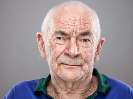 one senior: Closeup portriat of an elderly man Stock Photo