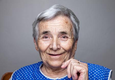 Closeup portrait of an elderly woman Standard-Bild