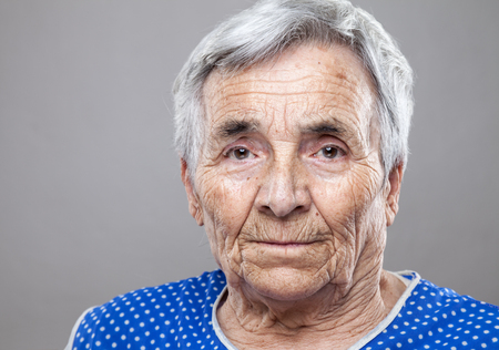 wrinkled: Closeup portrait of an elderly woman Stock Photo