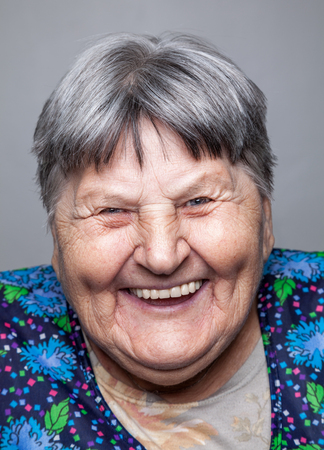 senior female: Closeup portrait of an elderly woman Stock Photo