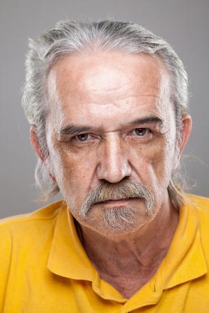 wrinkled: Closeup portrait of an elderly man Stock Photo