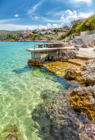 seaside: Beautiful turquoise beach in Rogoznica Croatia