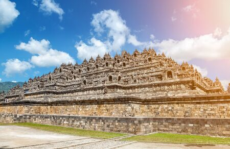 indonesia culture: Ancient temple of Borobudur in Java, Indonesia
