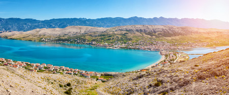 croatian: Aerial view of a beautiful Croatian island of Pag