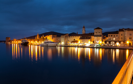 croatia: Old coastal town Trogir in Croatia at night